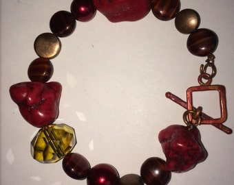 Red and Copper Bracelet