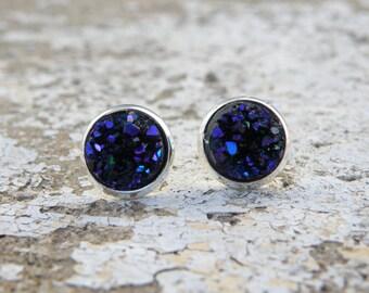 Earrings Druzy Stud Earrings Boho Jewelry Midnight Blue Purple Black 10MM Silver Setting