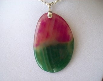 Pink, and Green Geode Agate Pendant