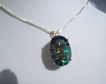 XXL Oval Blue-Green Mystic Pendant in Sterling Silver 25x18 mm