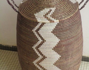 Laundry Sorter, Laundry Basket, Chocolate Brown and white