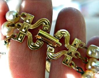 Art Nouveau Clasp Multistrand Pearl Bracelet