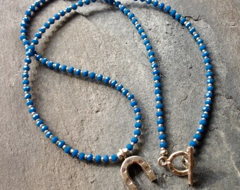Apatite and Silver Horseshoe Necklace