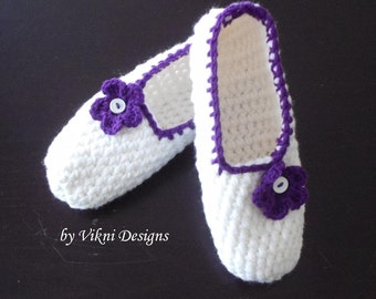 Extra Thick Crochet Slippers, Womens Slippers, White Slippers by Vikni Designs