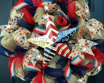 Patriotic Mesh Wreath READY TO SHIP for Memorial Day Independence Day Labor Day Americana Star