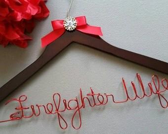 Firefighter Wife Wedding Hanger, Wedding Dress Hanger, Mrs. Firefighter Wedding Hanger, Bridal Gown Hanger with Bling