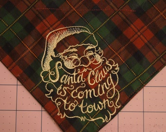 Santa Claus is Coming to Town Over the Collar Dog Bandanna