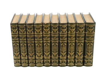 Progress of Nation -1930 Limited Edition-10 Volumes -Moroccan Leather bound Books