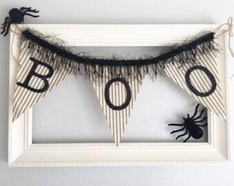 Halloween Banner, Halloween Bunting, Halloween Garland, Boo Banner, Letter Banner, Halloween Decor, Vintage Banner, Mantle Decor Decoration