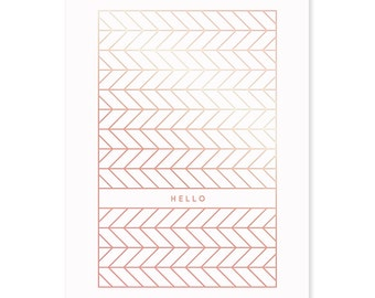 Gold greeting gift card» Hello «.»