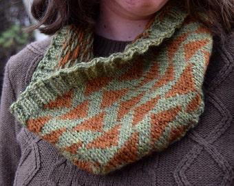 To Kill a Mockingbird Cowl || Handknit Wool Triangle Colorwork Orange Green Cowl Scarf