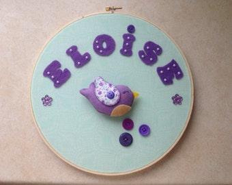 Bird girl personalized hoop, baby room wall hoop, baby room door hanger,personalized baby nursery hanging, Bird girl wall hanger