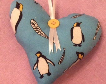 Handcrafted Penguin Hanging Heart Decoration