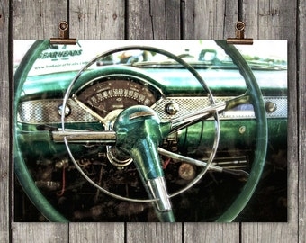 Vintage Car Dashboard - Classic Auto - Old Green Car - Buda, TX - Fine Art Photography Print