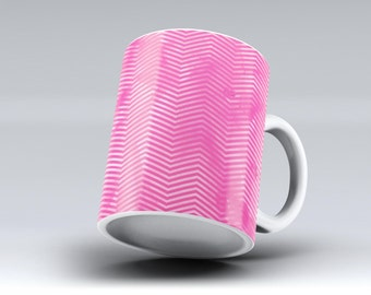 The Vibrant Pink Layers of Chevron-ink Fuzed Ceramic Coffee Mug or Tea Cup