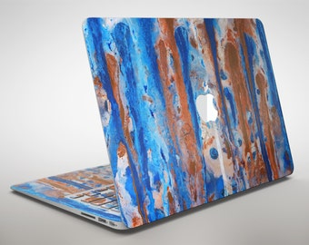 Abstract Wet Paint Rustic Blue - Apple MacBook Air or Pro Skin Decal Kit (All Versions Available)