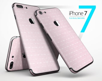 Tiny White Arrows Over Pink - Skin Kit for the iPhone 7 or 7 Plus, 6 or 6s Plus, 5/5s/SE, 5c & More