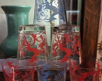 6 Vntg FEDERAL GAZELLE Glasses (4 Red/2 Blue) Tumbler