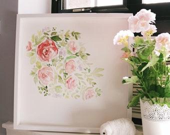 10x10 Spring Floral Watercolor Print// Watercolor Flower Print// Watercolor Floral// Flower Painting