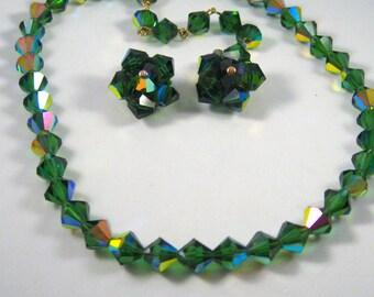 Green Austrian Quartz Necklace Earring Set Wedding Jewelry Dark Green Aurora Borealis Demi Parure Crystal