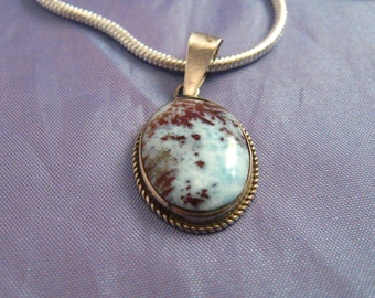 Vintage Ocean Blue Brown Larimar Sterling Silver Pendant Semi Precious Gemstone Necklace Dominican Caribbean with Sterling Chain