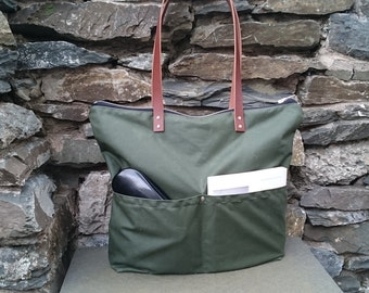 Green Waxed Canvas Tote Bag