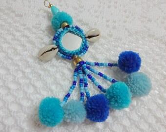 1 Pc Cowrie Shell Tassel,Purse & Handbag Decoration,Pom Pom Swag,Mirror Tassel,BOHO Decoration,Keychain - Blue