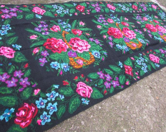 Bessarabian Kilim & area rugs. Vintage Moldovan Kilim, Rose kilim rug, handmade carpet 50-60 years old,Ethnic home decor. Handwoven wool rug