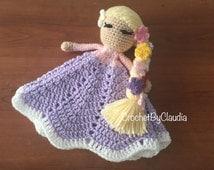 Rapunzel Inspired Lovey/ Security Blanket/ Amigurumi Doll/ Crochet Rapunzel Doll-- Made To Order