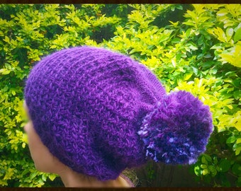 HAND knitted  POM HAT