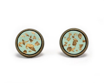 Mint Green Earrings Mint Earrings Bridesmaid Earrings Sensitive Earrings Stud Earrings Gold Leaf Earrings