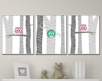 Baby Girl Owl Nursery Wall Art Print, Baby Girl Owls in a Tree Wall Art, Girls Bedroom Decor - N739,740,741 - Unframed - Custom Color