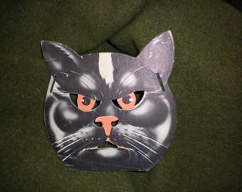 Vintage Black Cat Halloween Mask