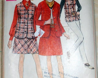 Junior Skirt Mini Skirt, Jacket  pattern, Simplicity 7794 Sewing pattern, Size 9, Bust 32, Skirt pattern, Teens Clothing 60s pattern Epsteam