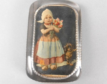 Antique Glass Paperweight with Dutch Girl and Dog