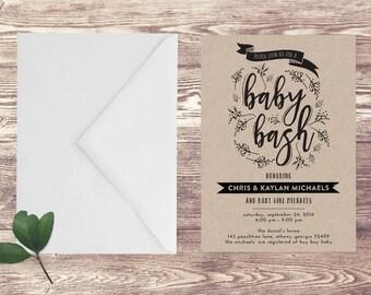 Printed Baby Bash Invitation on Kraft Paper, Baby Shower Invite on Craft Paper, Couples Baby Shower Invitation, Couples Baby Sprinkle Invite