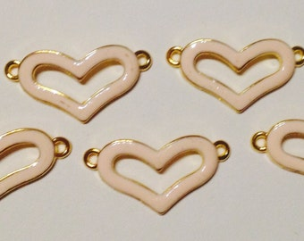 5 Charms heart in hypoallergenic metal gold. 30 mm X 15mm.