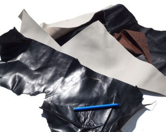 Black & Biege Cow hide leather scrap 500 g varied textures flexible