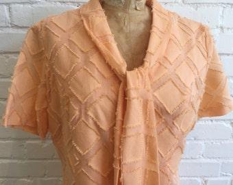 1960s Peach Shift Dress // 60s Peach Dress // Vintage  1960s Shabby Bow Dress