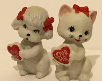 Vintage Kitsch Bisque Poodle And Kitten