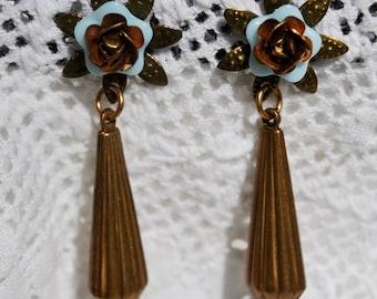 Vintage Brass Teardrop Earrings with Flower Posts