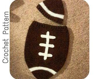 Crochet PATTERN | Newborn Football Cocoon | Easy Crochet Pattern Infant Football Photo Prop | Baby Football Cocoon and Hat Set Pattern