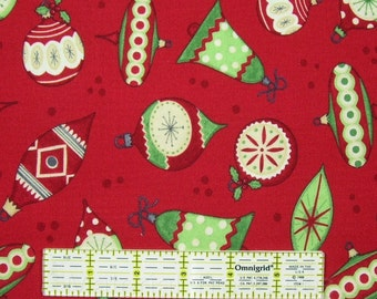 Jolly Christmas Fabric by Debbie Mumm Red Cotton Green White Ornaments By The Yard