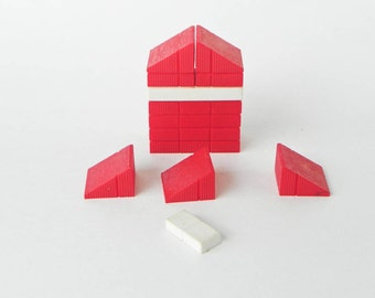 1960s American Plastic Bricks By Elgo - Plastic Interlocking Building Blocks - Red White - Small Lot