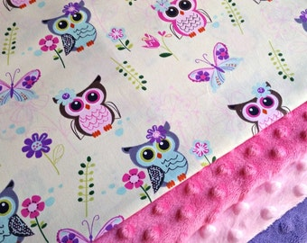 Pink Owl Minky Blanket - MADE TO ORDER - Yellow Owl Baby Blanket - Minky Baby Blanket - Pink Purple Owls - Baby Bedding - Cot Blanket