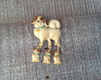Vintage Dog with Puppies Magnet