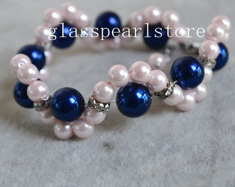 pink and navy blue pearl Bracelet,navy and pink mixed Pearl Bracelet,glass Pearl Flower Bracelet,Wedding pearl and rhinestone bracelet