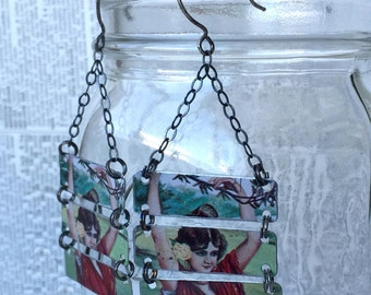 Upcycled tin earrings made from a vintage olive oil tin