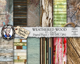 Weathered Wood Digital Paper, Distressed backgrounds, wood texture, Scrapbooking, Printable, photography, wood back drops, 12 H Res 300 DPI