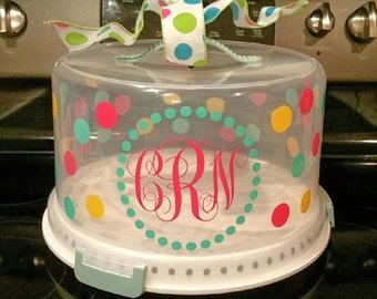 Personalized Monogram Cake Carrier | Monogram Cake Server | Monogram Cake Taker | Monogram Cake Container | Monogram Cake Plate
